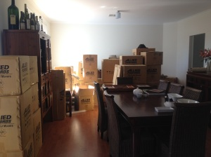 The boxes start arriving - this was before every available surface started being covered in stuff!