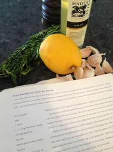 Ingredients ready for the Roast Chook with Verjuice and Garlic