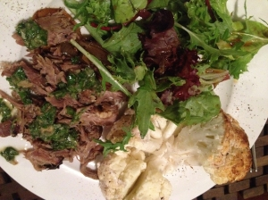 8 hour roast lamb, roasted cauliflower with goats curd and greens with vincotto