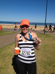 Feeling happy after finishing to City to Bay, Glenelg, September 2014