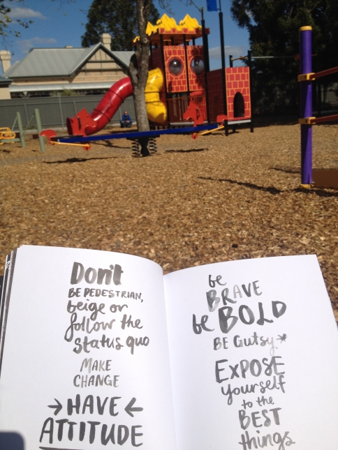 Reading Lisa Messenger's Daring & Disruptive at the park