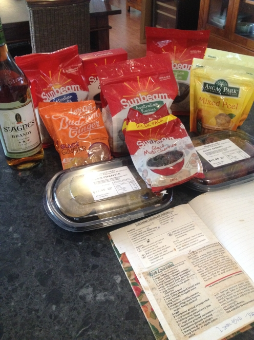 Ingredients ready for my fruit cake
