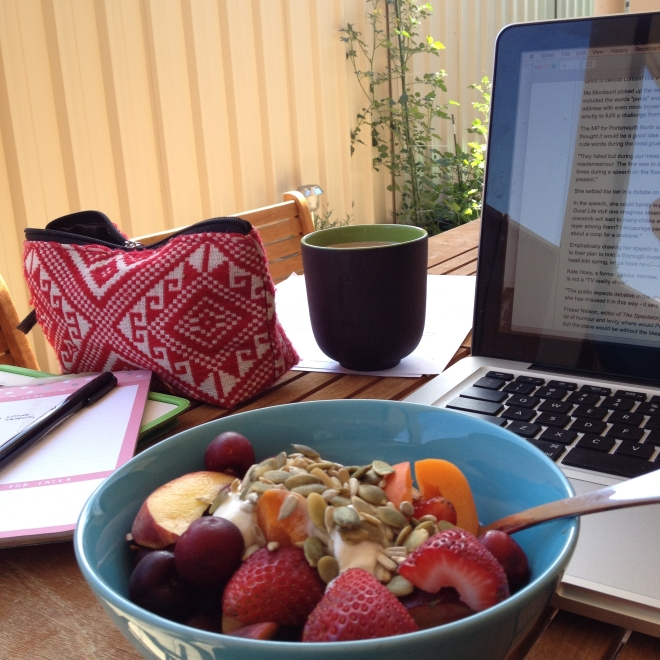 No longer a dream - working outside with a post-workout brunch