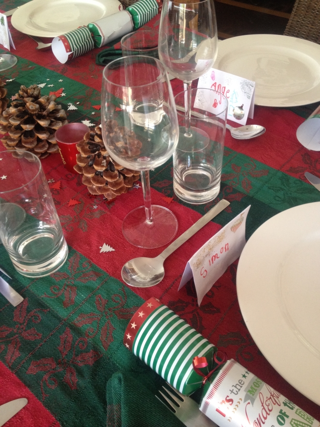 Christmas  lunch table ready to go - with place cards made by the boys
