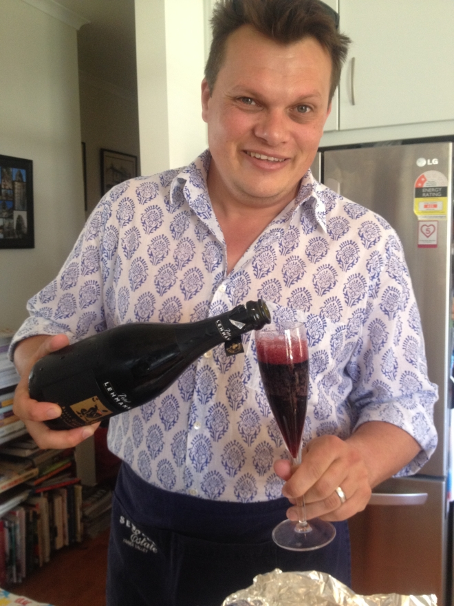 Simon pouring Peter Lehmann Black Queen Sparkling Shiraz