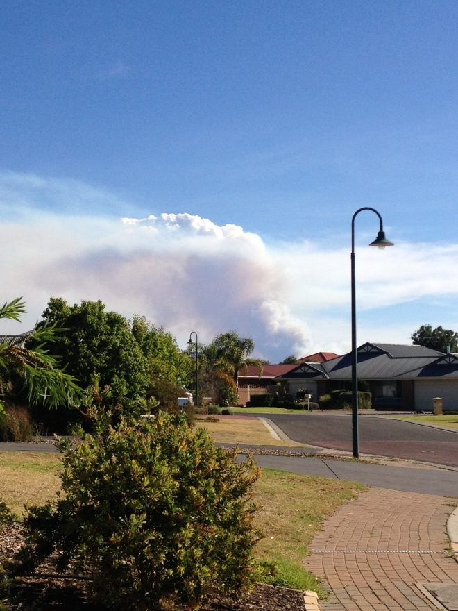 View of the Adelaide Hills bushfires from our place in the Barossa, 2 January 2015