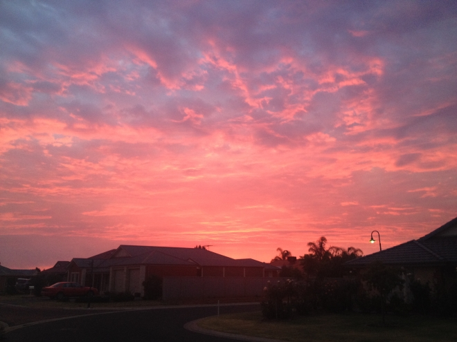 Fire fuelled sunset, Tanunda 3 January 2015