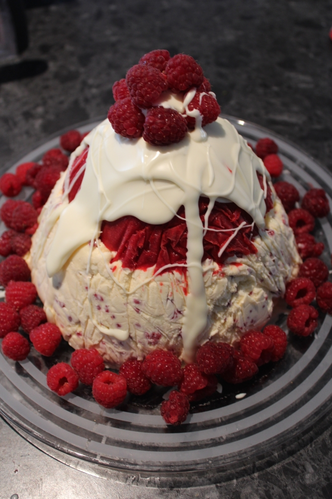 Raspberry, nougat and white chocolate ice-cream pudding - recipe from Women's Weekly December 2014
