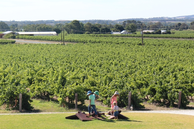 View from the deck at Artisans - great spot for a drink while the kids play on the lawn. Fabulous wines and a great team