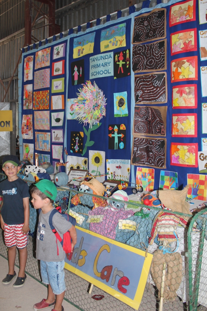 My boys in front of the Tanunda Primary School Display