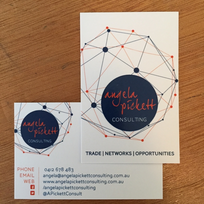 My business cards for Angela Pickett Consulting - helping businesses to expand their international engagement and opportunities