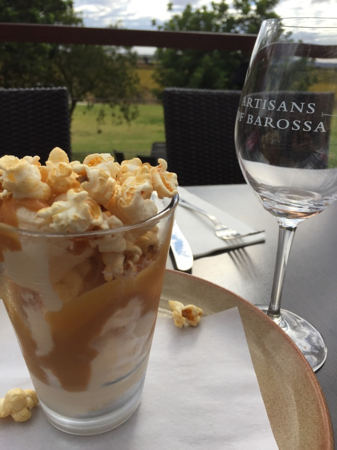 The Salted Caramel Popcorn sundae at Harvest Kitchen is amazing
