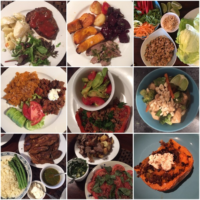 Whole30 dinners - roast meat and roast vegetables, lettuce wraps, taco mince with sweet potato mash and bolognaise with zucchini noodles were some of the regular meals